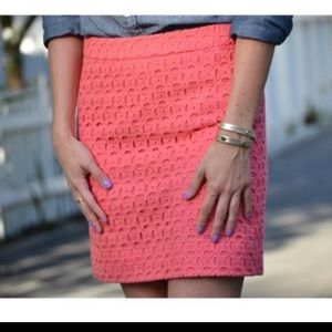 J. Crew Skirts - J Crew Salmon Eyelet Mini Pencil Skirt Size 0
